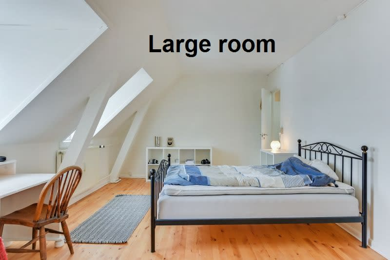 Bright room in large shared appartment with common living room