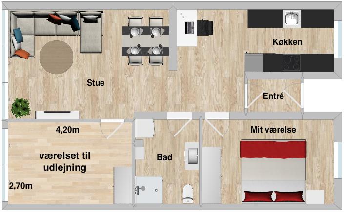 Dejligt værelse med god udsigt på Vesterbro udlejes!
