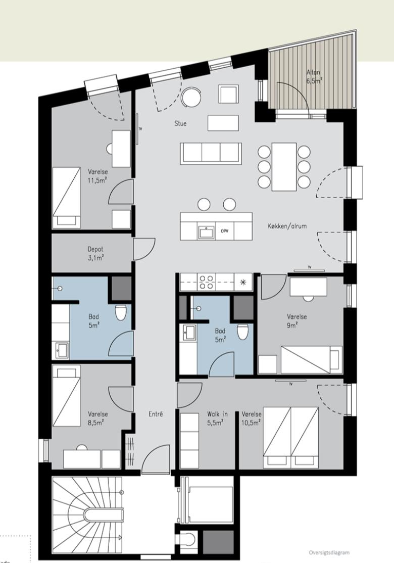 0 m2 værelse udlejes i København til 7000,- kr.