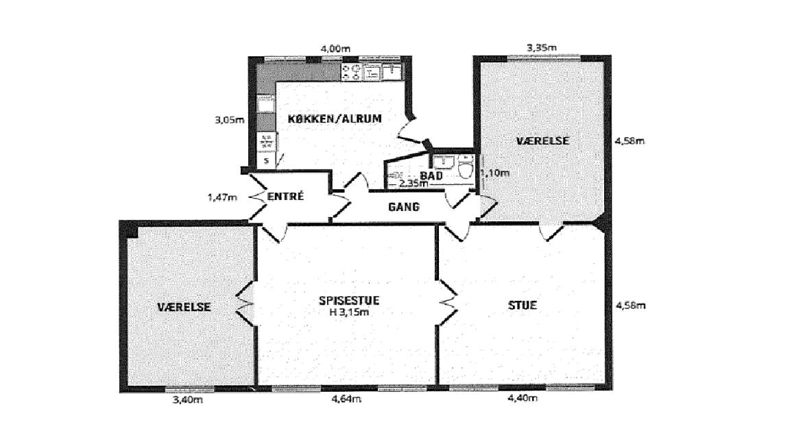 15 m2 værelse med stor dele stue og køkken.