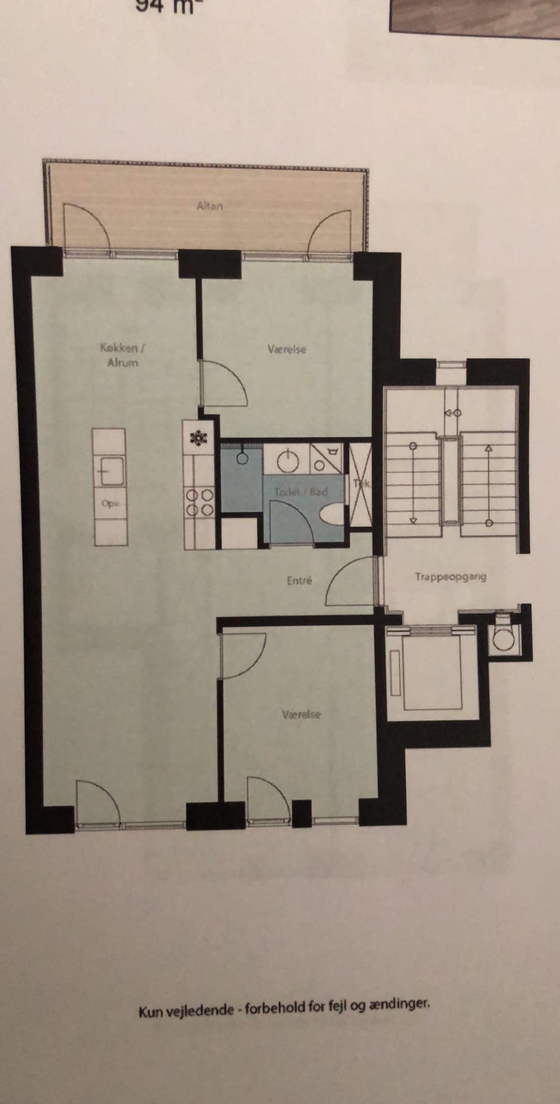Lækker nybygget 92 kvm lejlighed med altan og to tagterrasser, perfekt til par/single