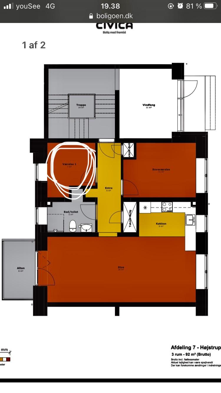 7 kvm værelse udlejes i en stor lejlighed, med altan, i et grønt område.